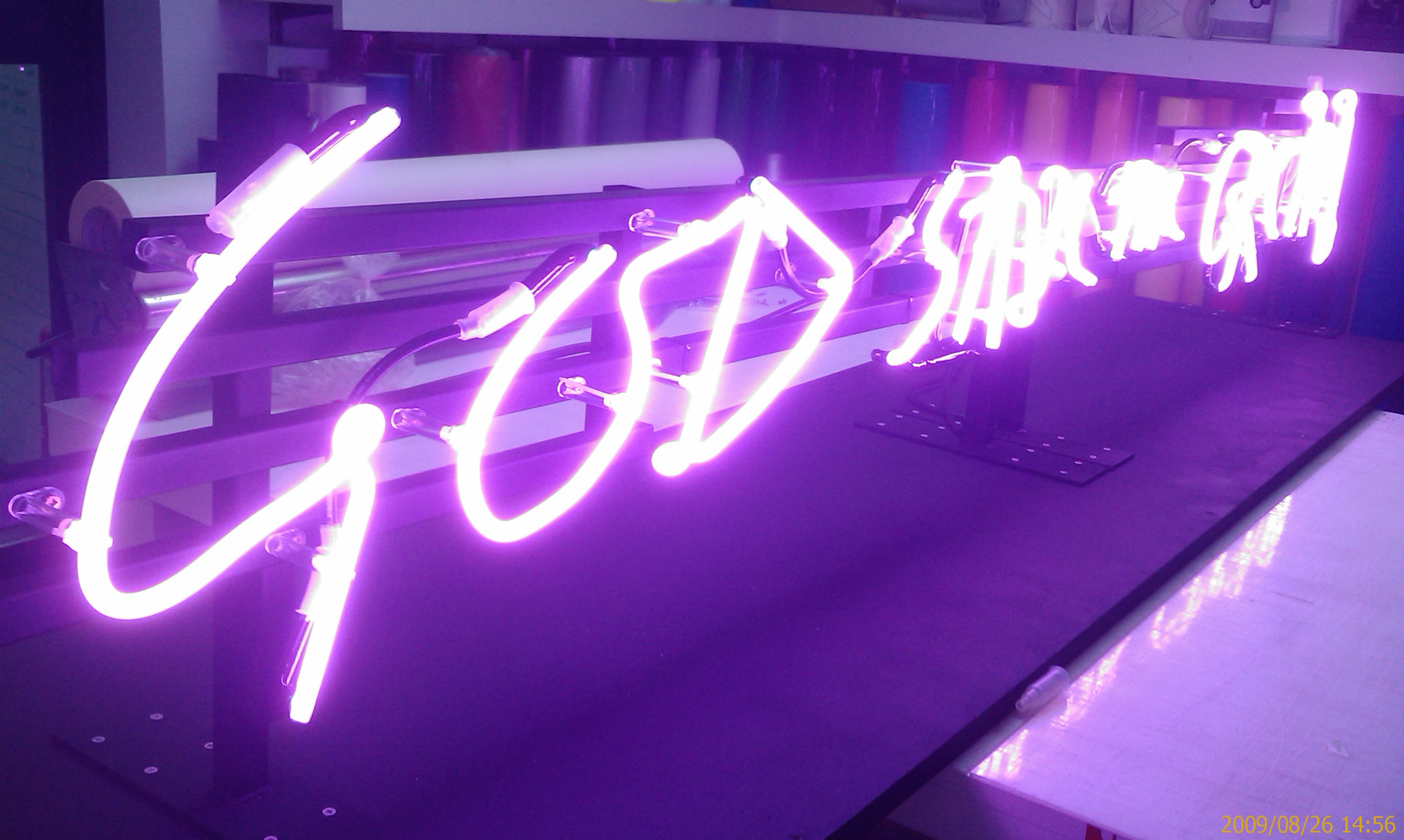 Purple Neon Sign God Save The Cream Action Signs